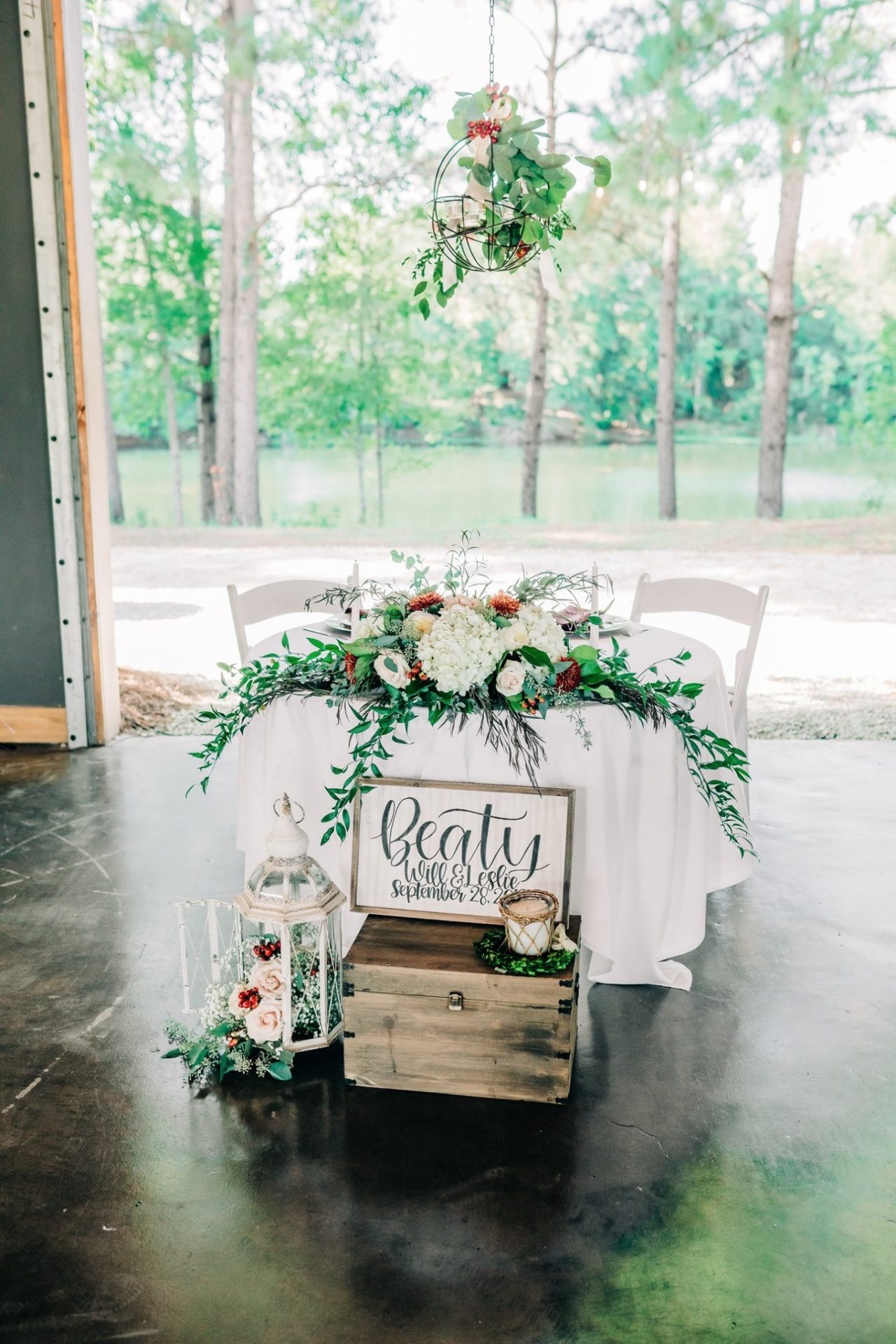 Sweetheart table in the Grainery and View
