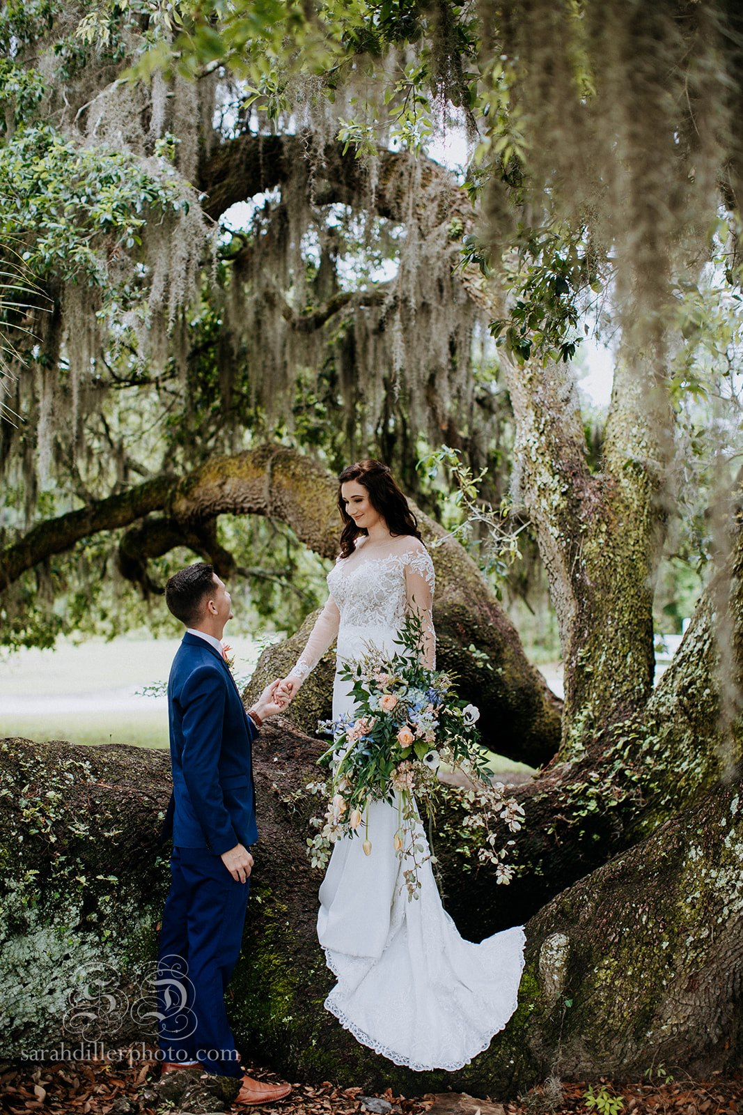 bride and groom in love tree styled shoot