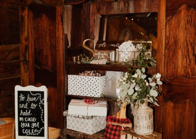 Rustic themed wedding decor and seating